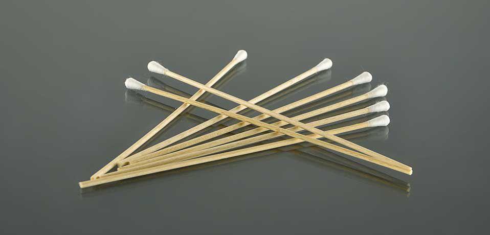 Деревянная палочка с намоткой ваты, 4-5 мм №0017